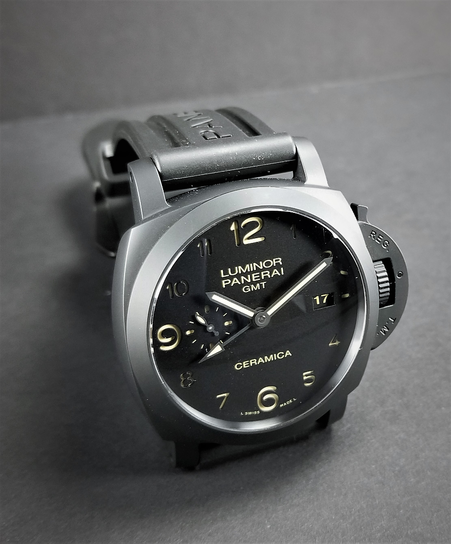 f15518b86021 Panerai Luminor 1950 3 Days GMT Black Ceramic Automatic LIKE NEW ...